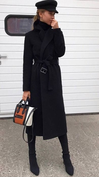0c548571 all black. chic winter street style. classics. longline coat ...