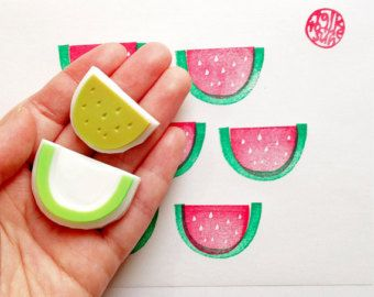 Melonen Stempel // emon hand carved rubber stamp. citrus fruits by talktothesun