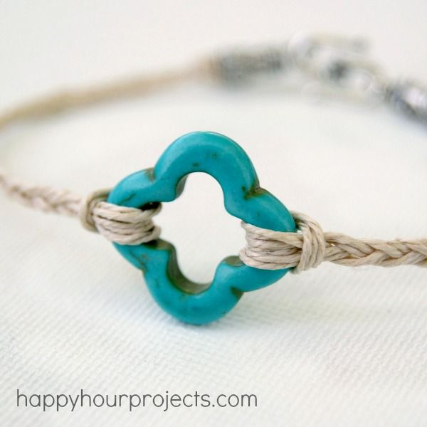 10 minute cord bracelet from Happy Hour Projects!  Would be fun to do with the kiddos.