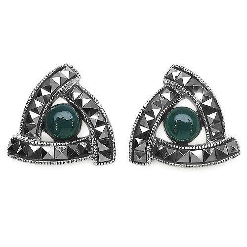 Exklusive Markasit grüner Onyx Ohrstecker 925 Silber, Ohrschmuck