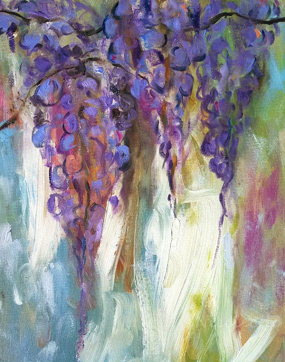 Painted Blue Wisteria Large Floral Painting Flower Painting Canvas Wall Art