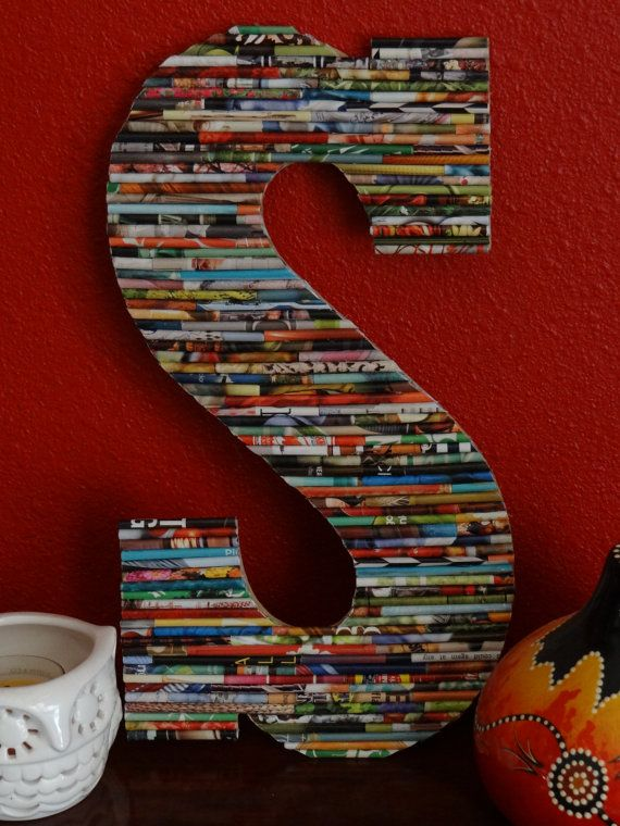 13 In Up-Cycled Wood Wall Letter - Rolled Paper Art, Very Mod Boho Chic. Great for Dorms, Weddings, Home, Kids, Baby
