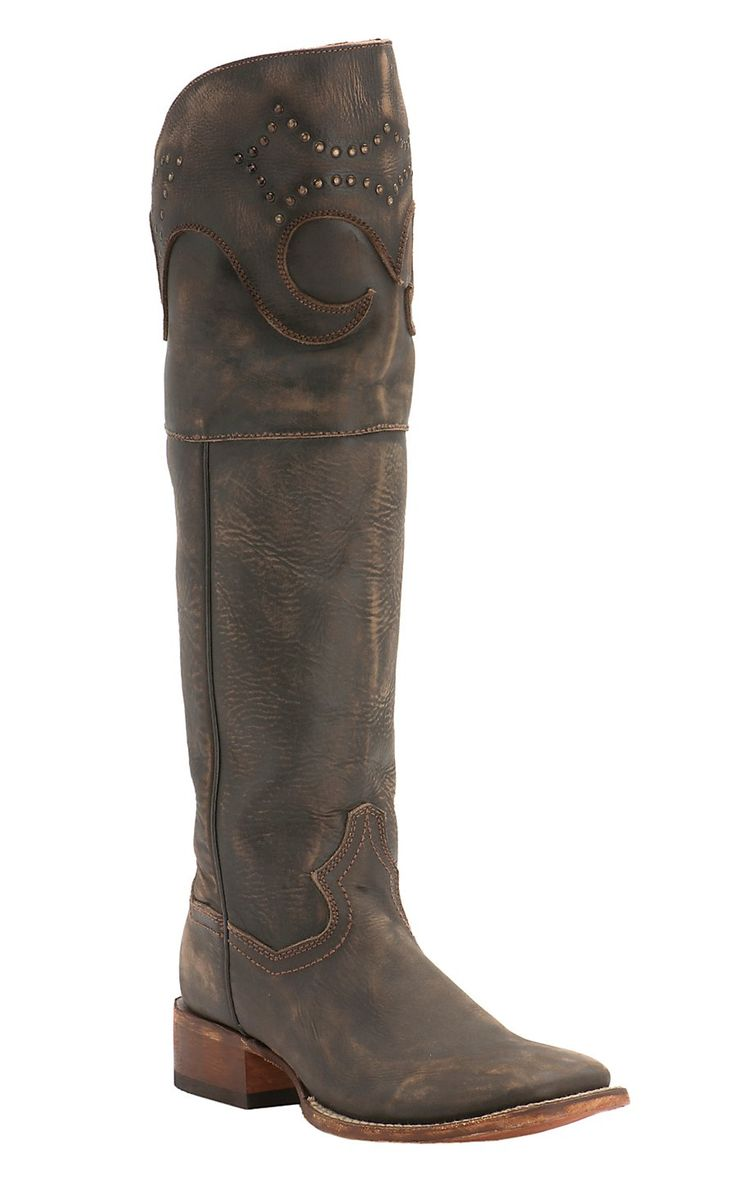 Dan Post Women's Sanded Brown with Tall Top Square Toe Western Boots | Cavender's