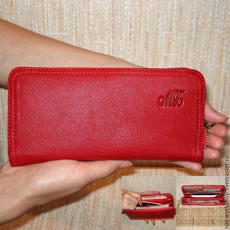 Купить Кошелек из натуральной кожи - ярко-красный, рисунок, кошелек, кожаный клатч, кошелек женский