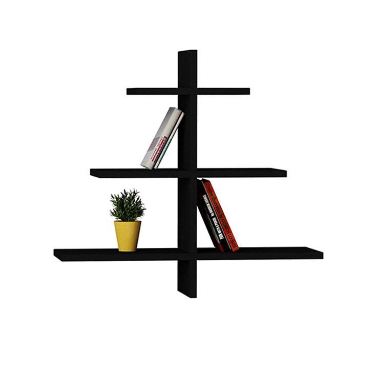 Ραφιέρα τοίχου Agac χρώμα μαύρο 65x22x70