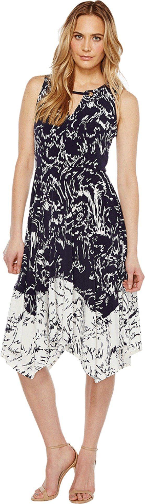 Ivanka Trump Women's Printed Matte Jersey with Handkerchief Hem Navy/Ivory Dress