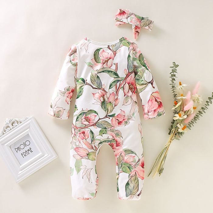 China Wholesale Online Buying Chinese Products Floral Print Jumpsuit Baby Girl Romper Pumpkin Romper