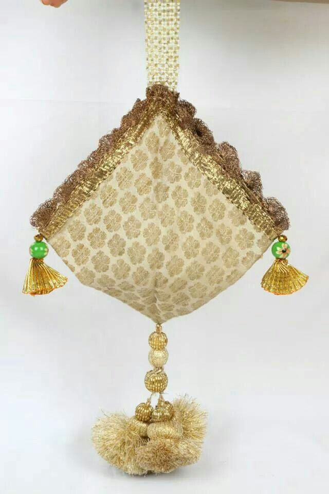Potli in a different look! Indian ethnic beige and gold bag!!
