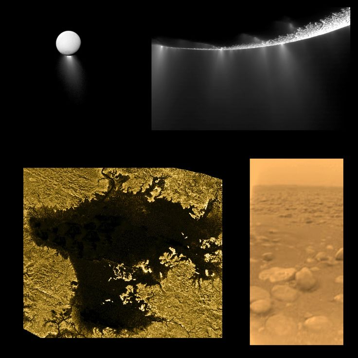 """Here are three of the greatest discoveries of the Cassini-Huygens mission, which was 10 years old in 2014. The discovery of geysers on the moon Enceladus, lakes of liquid methane on Titan, and the a picture taken from the surface of Titan by the Huygens lander. Mona Evans, """"Titan - Planet-sized Moon of Saturn"""" http://www.bellaonline.com/articles/art182860.asp"""