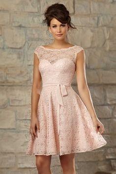 Robe de cocktail rose courte dentelle dos V échancré.... Ma robe pour le mariage a isa et bob!! Cest presque ca