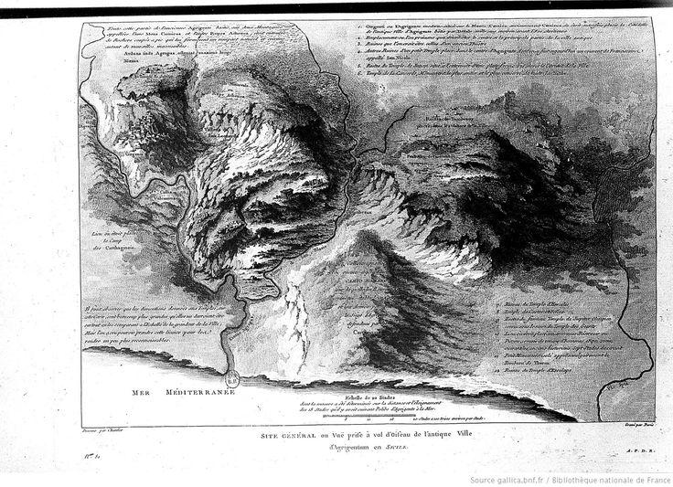[Tome 4. Carte en reg. p.202 :] Site général en vue prise à vol d'oiseau de l'antique ville d'Agrigentum en Sicile (...).[cote : microfilm m 5369 1 à 4/R41755 à R41758]