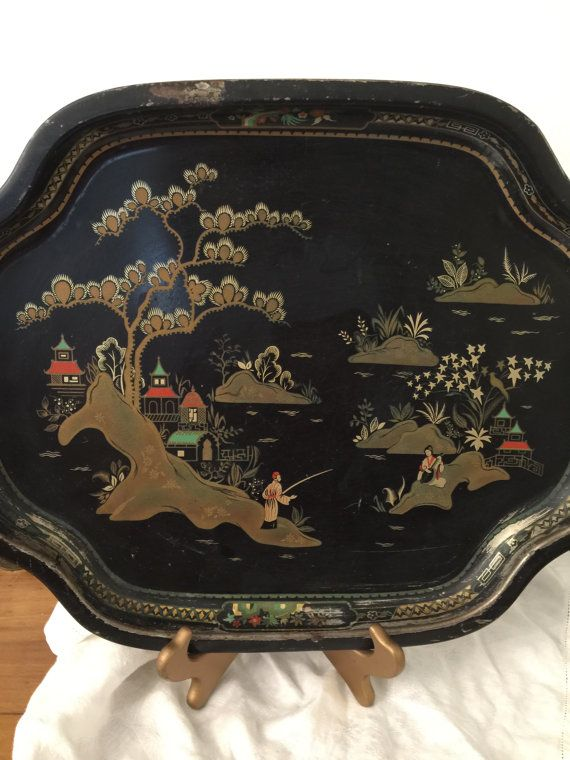 Asian Look Metal Tray  Baret Ware  China by PineStreetPickers