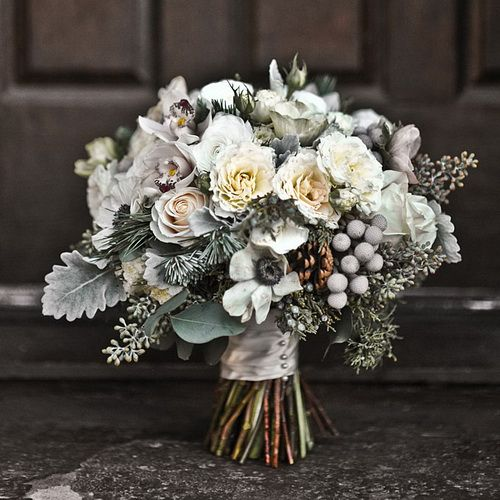 Winter Wedding Flowers - anemones, brunia, and dusty miller