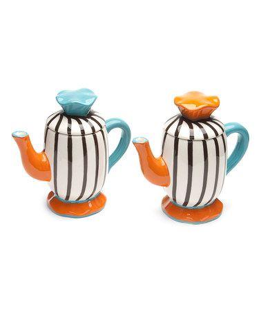 Love this Blue & Orange Brulee Mini Tea Pot - Set of Two on #zulily! #zulilyfinds