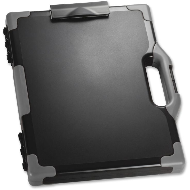 """OIC Clipboard Storage Box. Carry-all clipboard box with a metal clip keeps your supplies stored and offers a sturdy surface for on-the-go writing. Inner compartment safely holds your tablet or laptop up to 13"""" for consolidated travel. Reinforced corners protect its vulnerable points from accidental bumps and drops. Snap closure keeps the cover tightly closed to prevent you from losing important items. Clipboard box is designed to hold both letter-size and legal-size papers."""