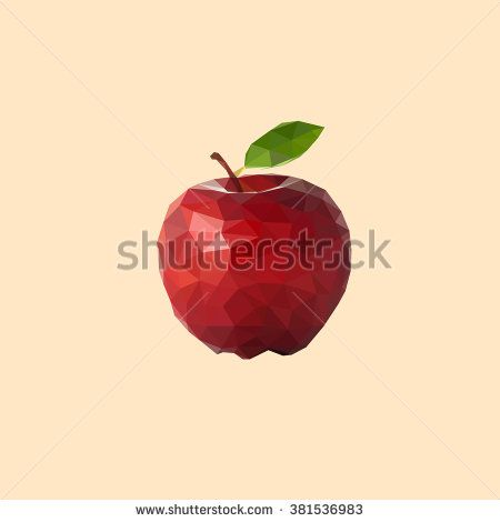 Apple Low Poly, Triangular Style