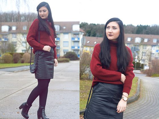 NEW on my blog: cashmere-stories.com/2017/01/turtleneck-leather-new-year/  romwe.com/Burgundy-Roll-Neck-Drop-Shoulder-Sweater-p-204923-cat-755.html