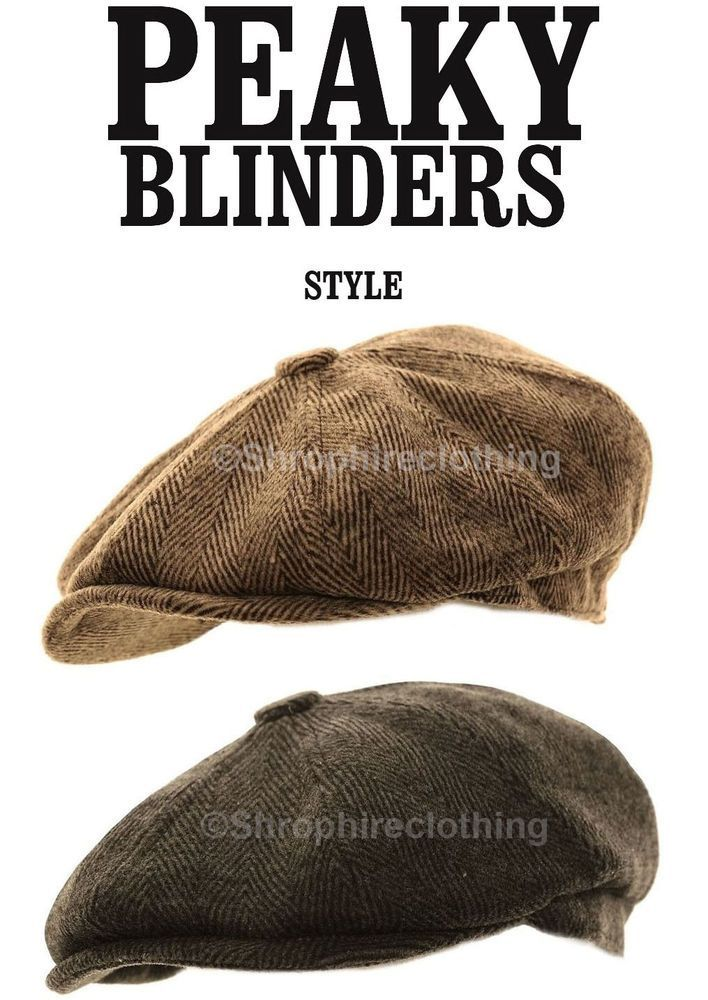Details about Mens Herringbone Baker Boy Caps Newsboy Hat Country Peaky Blinder Style Flat Ca…