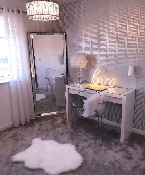 sweet vanity, dressing room, white and silver …