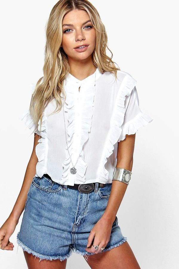 boohoo Grace Ruffle Short Sleeved Shirt