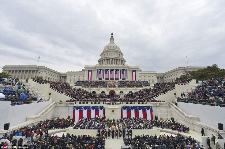 View of the West Front as President-elect Donald Trump arrives on the platform of the US C...