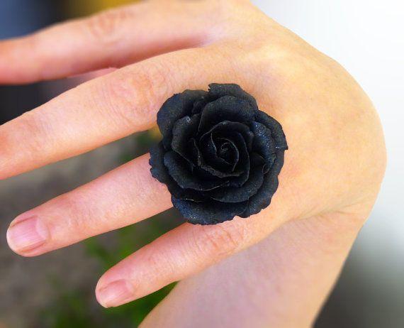 Black ring Large black ring Jewelry rose Flower ring Rose ring black jewelry Romantic ring Large ring Gift for women Cute ring Handmade rose