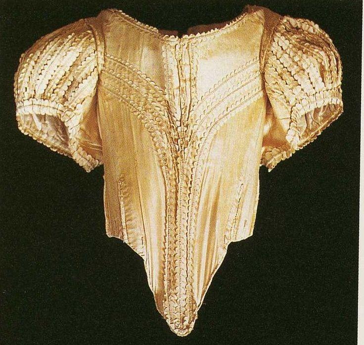 Ladies' bodice, 1660-1665, Claydon House, Janet Arnold.