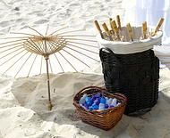 White parasols are a great idea to provide your guests with some shade on a hot day. And don't forget the water! Wedding Ceremony at Snapper Rocks Wedding Ceremony Ideas www.breezeweddings.com.au #parasols #beachwedding #whiteparasols #breezeweddingsaustralia