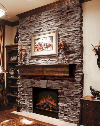 Coronado Stone / Virginia Ledge - Cape Cod Grey - Stone Veneer Fireplace  @Geek-