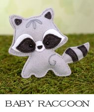 raccoon sewing pattern, felt raccoon, baby raccoon, raccoon plushie, raccoon stuffed animal, woodland pattern, ornament pattern #feltanimals