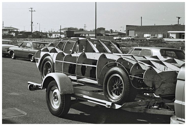 Pete Brock's Daytona Coupe wood framed body buck. Originally and standard 289 Cobra, it was ready to have body panels applied. Fall, 1963. Dave Friedman photo.