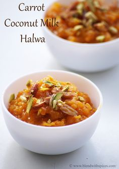 Carrot Coconut Milk Halwa Recipe with Step by step photos. Indian dessert made with carrots and coconut milk. #Holi #Recipes #Sweets blendwithspices.com