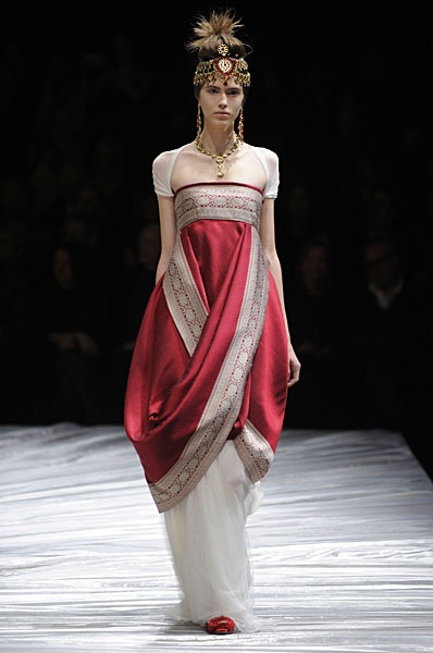Alexander McQueen - interesting historical references - see the Downton Abbey dress for reference