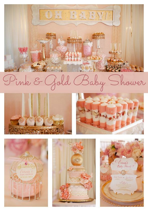 gold pink and white baby shower