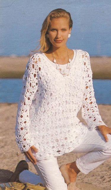 Patrón #544: Blusa con muestra grande a Crochet #ctejidas http://blgs.co/44d7p8