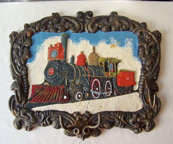 Vintage Coat Rack Wall Plaque Train Plaque Cast by CynthiasAttic