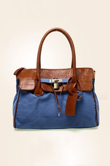 Handbag made of PU, featuring top zipped closure, crocodile pattern to top, lock embellishment to front.