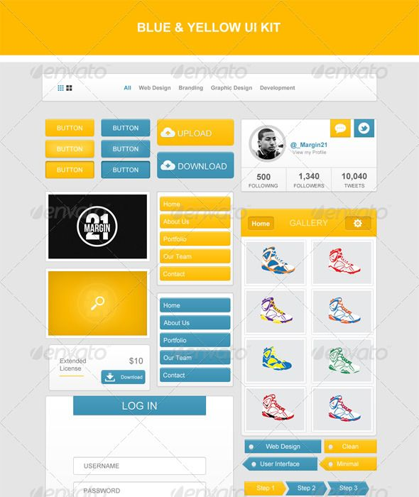 Blue & Yellow UI Kit  #GraphicRiver         Description:   user interface is completely customizable with well organized Layers. Great for your web and mobile projects.   All elements are customizable.   Content:   -1 completely customizable PSD file   Features:   -Well organized    -Elements are organized in folders, with layers named. -Easy to modify for your web or mobile projects   Fonts Used: -Arial   If you have any question email me at roshaneingram@gmail      Created…