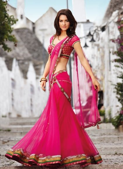 Fuscia pink and brocade choli