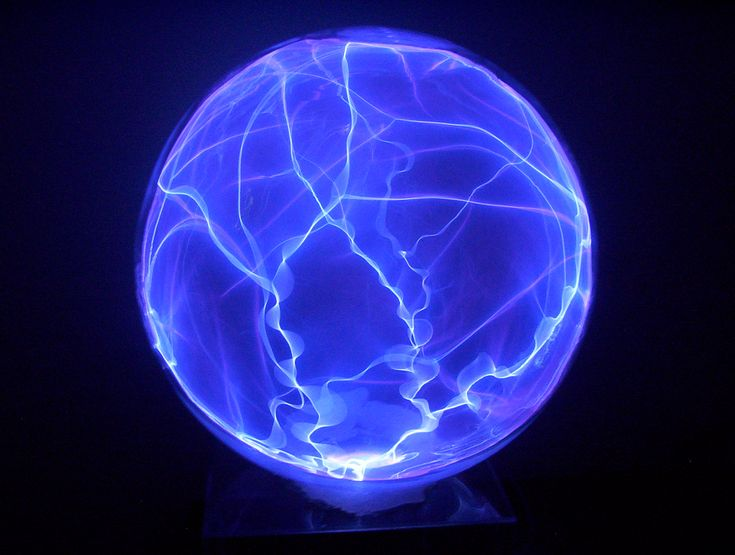 Invented by Nikola Tesla, the plasma lamp is a glass sphere containing noble gases with a high-voltage electrode in the center. Description from visionlearning.com. I searched for this on bing.com/images