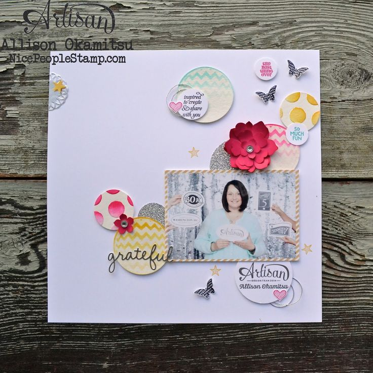 This week we are using the Sparkly Seasons Bundle, and although it's super cute with images for fall and Christmas, I chose to just use the large chevron circle stamp and the 'grateful' thinlit for my scrapbook page. - Allison Okamitsu