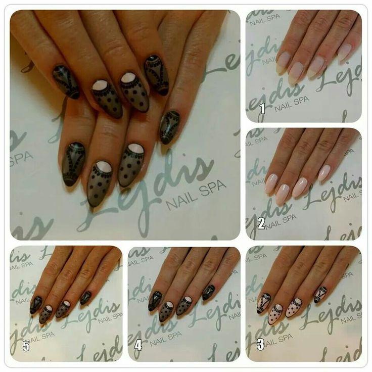 Koronkowe paznokcie krok po kroku :) #koronkowepaznokcie #koronkowe #paznokcie #rajstopowe #rajstopy #na #paznokciach #efektrajstop #pończochy