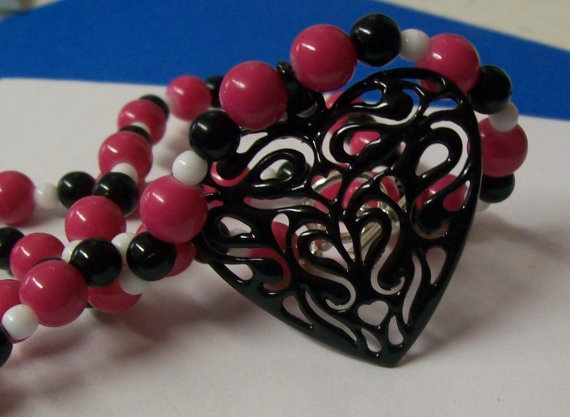 BOLD and Sassy Hot pink white and black by MissysTreasurez on Etsy, $13.00