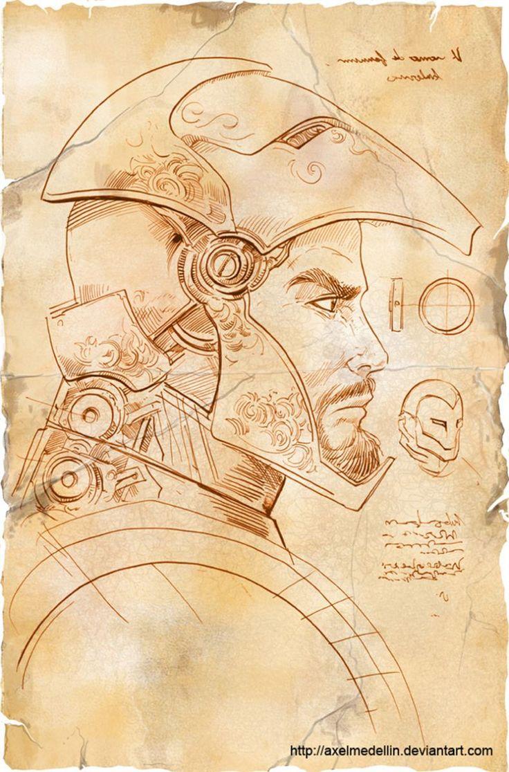 Ilustraciones de Iron Man inspiradas en Da Vinci por Alex Medellín