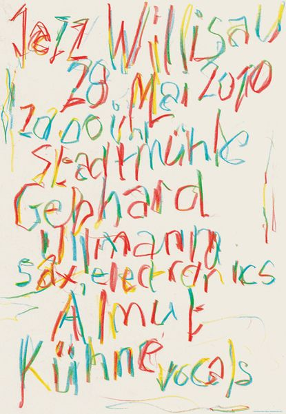 Handlettered poster by Niklaus Troxler; a tour de force with color balance and multistroked deconstructed letterform. Enough red for legibility.