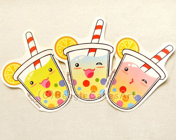 Cute Tropical Tapioca Bubble Tea Stickers: Kawaii Rainbow Boba Illustration Laptop Decals, Planner Stickers, Water-resistant Glossy Stickers