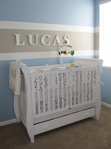 :  Cots, Stripes Wall, Boys Nurseries, Color, Paintings Ideas, Boys Rooms, Baby Boys, Wall Stripes, Baby Rooms