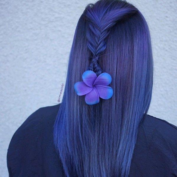 black and dark blue hair