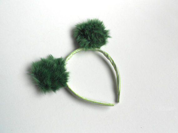 Bear ears headband | Furry ears headpiece | Halloween Animal Costume | Cosplay Teddy Bear Ears | Fur ears headband | Green stripes ears