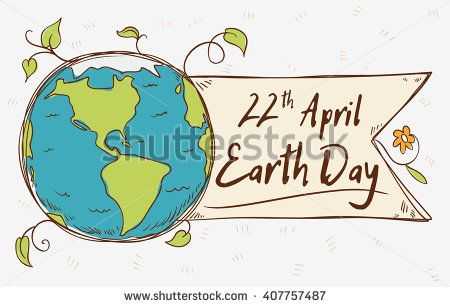 Beauty view of the planet with a ribbon and greeting message in cartoon style for Earth Day.